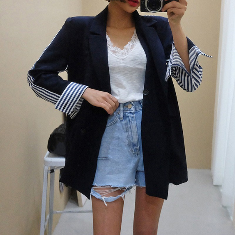 2018 High Quality Women Patchwork Striped Blazer Autumn Notched Collar Office Jacket Lady Double Breasted Elegant Suit