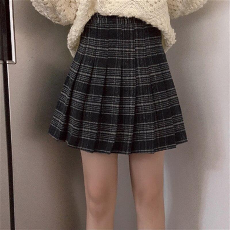 Kpop Harajuku Women Woolen Pleat Skirt Mini Cute School Uniforms Ladies Jupe Kawaii Skirt Preppy Chic Plaid Skirts Saia Faldas