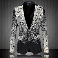 M-5XL Beiläufige herren Blumen Blazer Frühjahr Dünne Jacke One Button Silver Schwarz Anzug Großen Größe masculino mantel Bühne Tragen kostüm