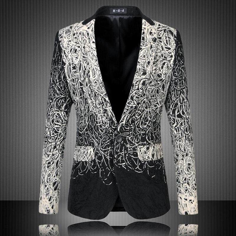 M-5XL Casual Men's Floral Blazer Spring Slim Jacket One Button Silver Black Suit Large Size masculino coat Stage Wear Costume