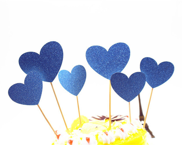 6pcs/lot Creative Love Heart Cake Flag Topper Single Stick Flags Multi Colors For Wedding Birthday Party Cake Baking Supplies-5