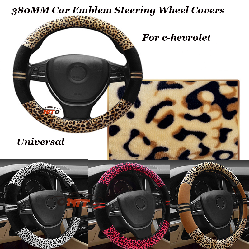 Top leopard print Plush 380MM For chevrolet lanos orlando captiva lacetti Chevy Car Steer Wheel Cover Auto steering wheel covers
