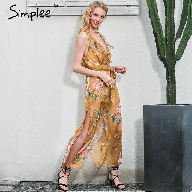 Simplee Deep V print flower women jumpsuit romper bodysuit Vintage ruffle chiffon summer overalls Backless high waist playsuit