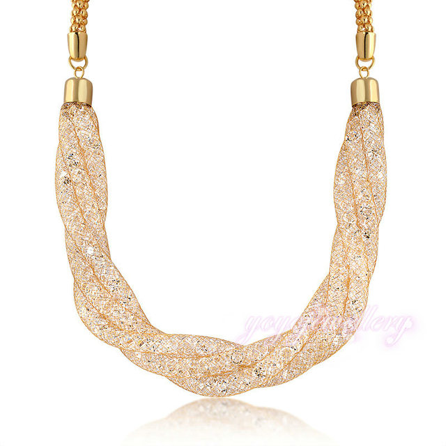 Mytys  Necklace 3 Layers With Extend Chain  Gold Mesh Net Adjustable Length Necklace CN166