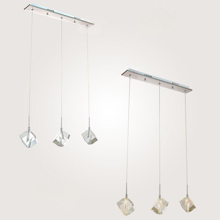 Crystal Cube Bar Counter Pendant Light Modern Dining Room Square Glass Pendant Lamp Restaurant Fashion Pendant Lighting Fixture