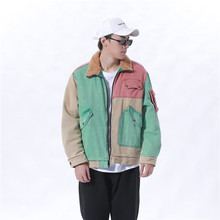 New winter men jacket splice colors fashion hiphop thicken men's loose coat male street casual lambswool jacket C109