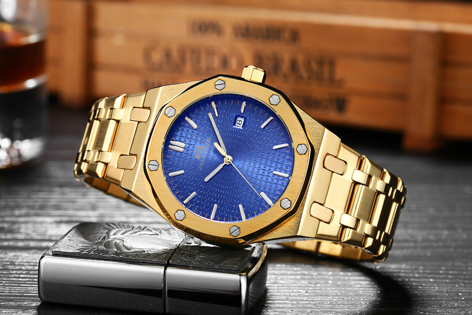 HTB1fT clh6I8KJjSszfq6yZVXXam Men Automatic Self Wind Mechanical Stainless Steel Strap Simple Business Blue Rose Gold Yellow Gold Date Watch