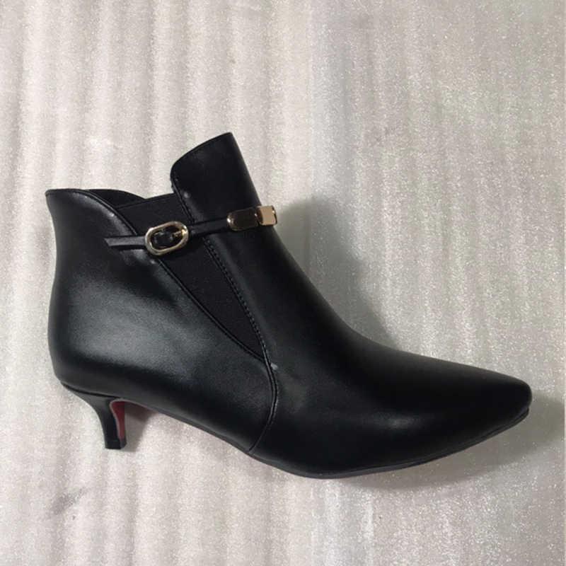 BONJOMARISA artı boyutu 33-46 sıcak satış bahar siyah Chelsea patik kadınlar sivri burun slip-on düşük topuklu ayakkabı kadın Metal süslemeleri
