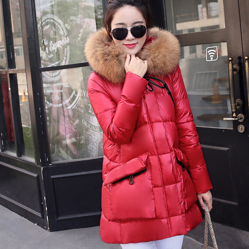 2015 New Winter Jacket Women Coat Down Parka Real Fur Collar White Duck Down Jacket For Women S-XXL Free Shipping