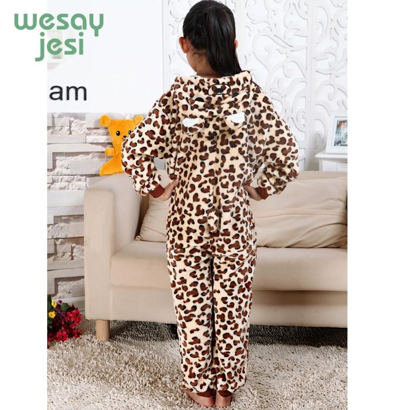 winter girl boy childrens pajamas Unisex baby onesie Infantil Cartoon Cheetah Flannel clothe kids pajama set Romper Sleepwear