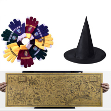 Harry Potter Magic World Map Kraft Paper Okulary Cosplay Rękawiczki College Gryffindor Touch Screen naszyjnik Wizard