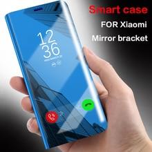 Купить с кэшбэком Smart Clear Mirror View Case For Xiaomi Redmi 4X 5 Plus cover Case for Xiaomi mi 8 se 6 6x mi8 mi6 mi6x Flip Stand Cases Bracket