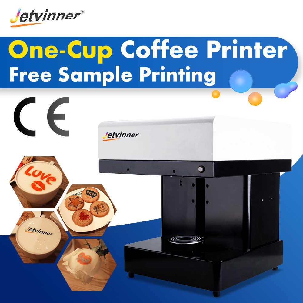 Jetvinner Amostra Grátis Impressão por Máquina Impressora De Um-copo Cofee Automática 4-Impressoras de Alimentos copo terno para Bolo, pão, Biscoito, etc.