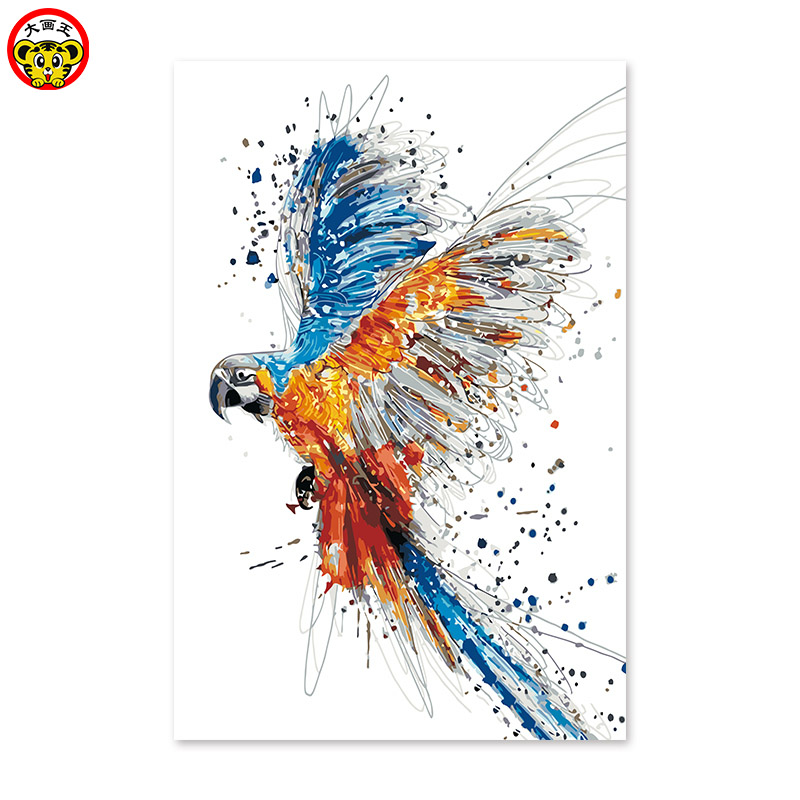 Diy digital oil painting by numbers drawing hand painted picture Wall Decor pictures for living room Abstract line parrot