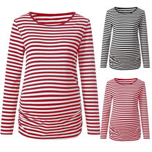 Summer Striped Maternity Nursing T Shirt Women Long Sleeve Pregnant Shirt Pregnancy Breastfeeding Tees shirt Maternity Clothes(China)