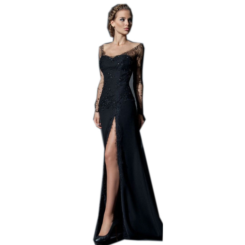 Long Black Formal Dress with Sheer Sides