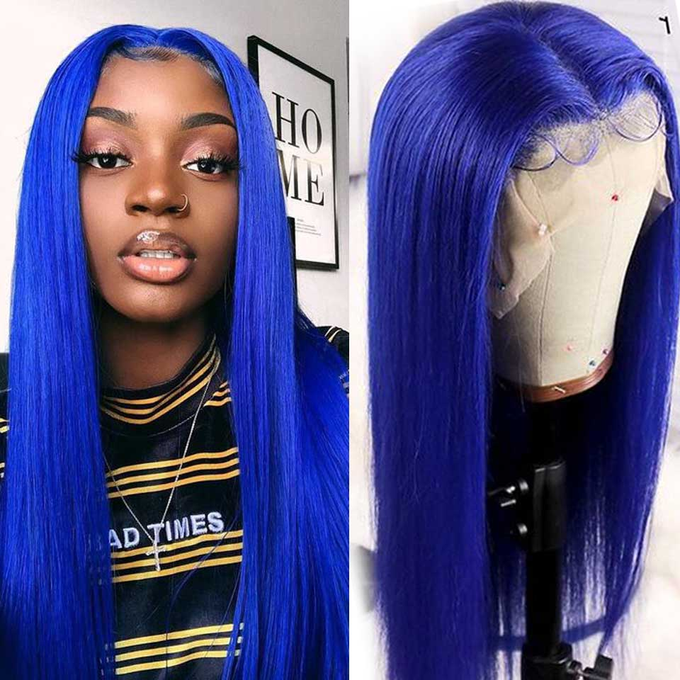 Customized Blue Brazilian Straight Lace Front Wig Highlight Pre-Plucked Colored Remy Transparent Lace Front Human Hair Wigs(China)