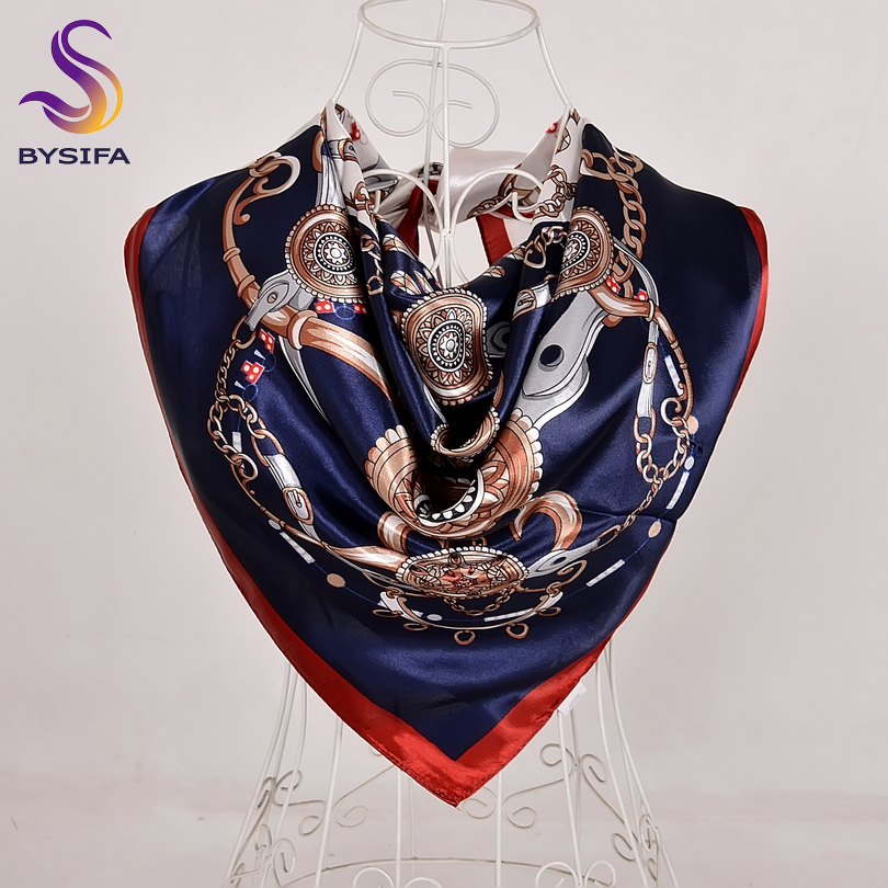 [BYSIFA] Blue White Square Silk Scarf Women Fashion Brand Winter Large Scarves Wraps Spring Autumn Muslim Head Scarf 90*90cm