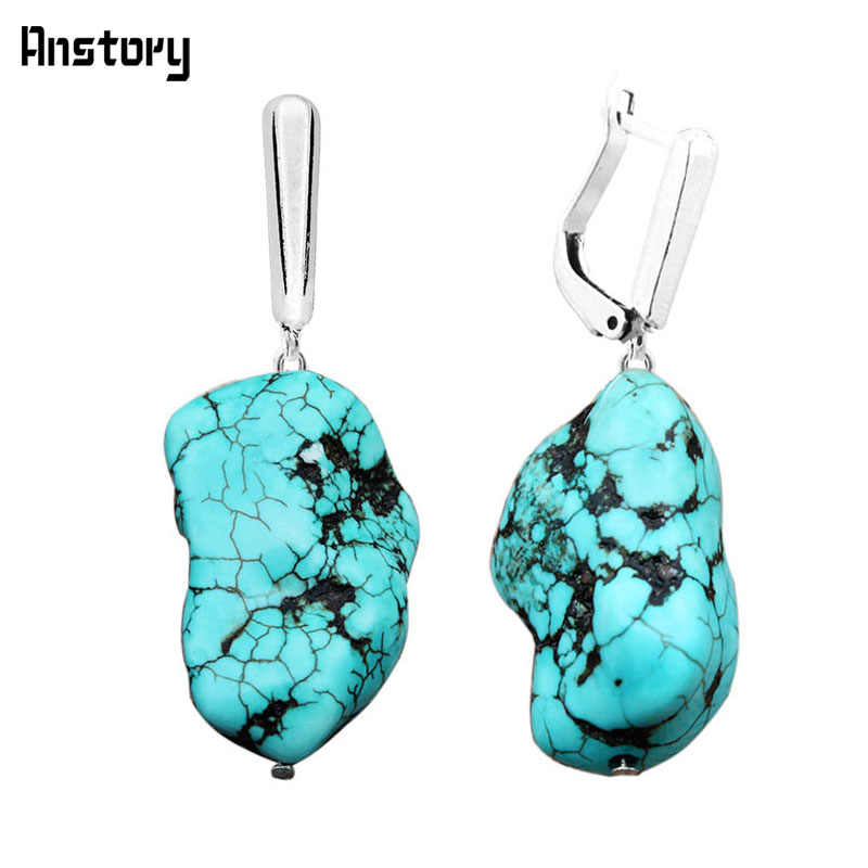 Irregular Natural Stone Pendant Earrings For Women Vintage Antique Silver Plated Bridal Wedding Party Gift Fashion Jewelry TE202