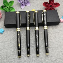 Gold top rollerball pen 50g/pc black and blue ink to choose custom free with your logo text on body one side