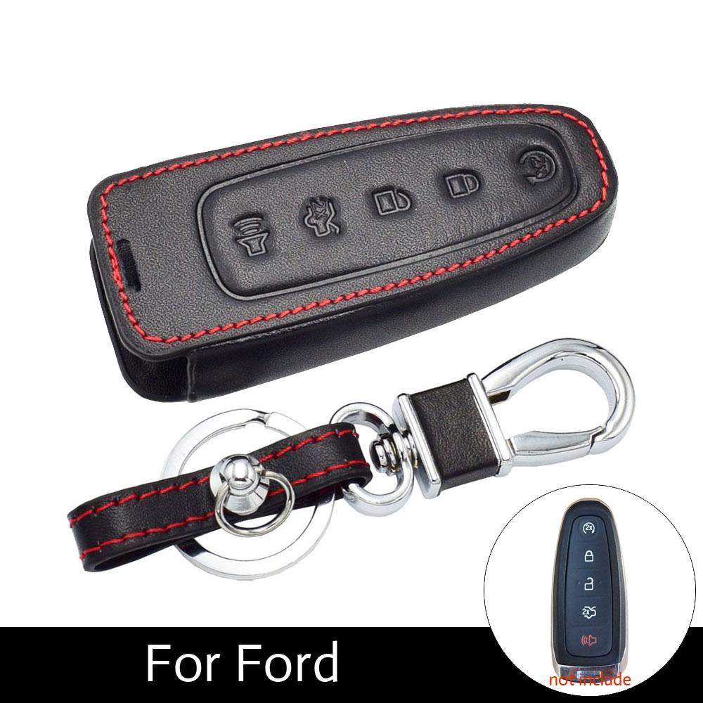 ATOBABI casos dominantes del coche de cuero Fob para Ford c-max/Edge/Escape/explorador/Flex /Focus Lincoln MKS MKT MKX llaves inteligentes