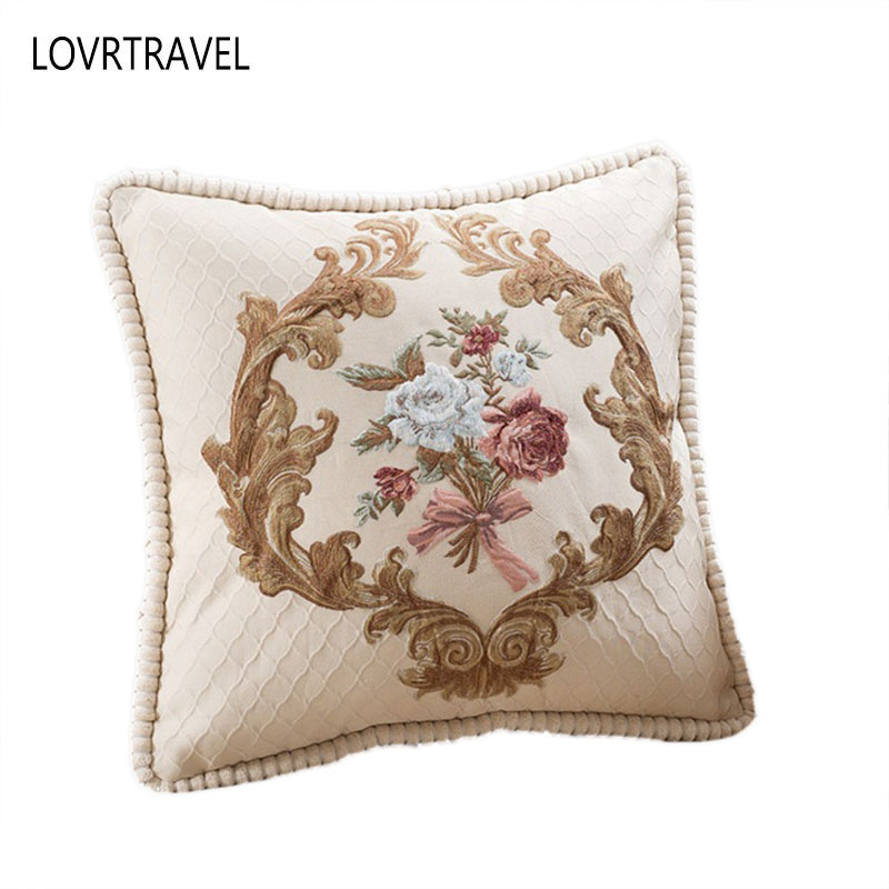 European Classic Embroidery Pillowcase Sofa Bed Headrest