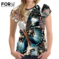 FORUDESIGNS Novelty Butterfly Printed Women Short Sleeved T Shirt Female Ladies Soft Comfort Top Tees Fashion