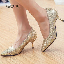 Women High Heels Shoes Fashion Sequined Pumps Thin Heel Party Ladies Slip On Spring Autumn Gold Silver