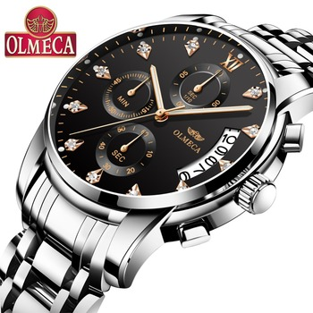 OLMECA Men's Watch Luxury Fashion Business Chronograph Quartz Watch relogio masculino Black Full Steel Waterproof Wristwatch