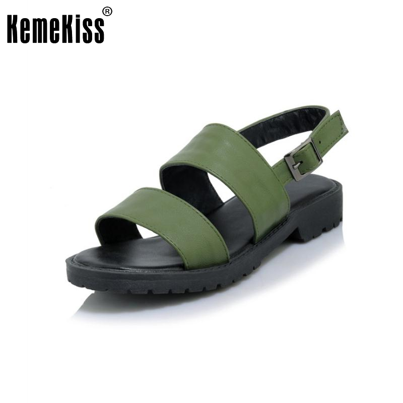 KemeKiss Size 32-43 Ladies Flats Sandals Open Toe Ankel Strap Shoes Women Solid Sexy Summer Sandals Party Female Footwears