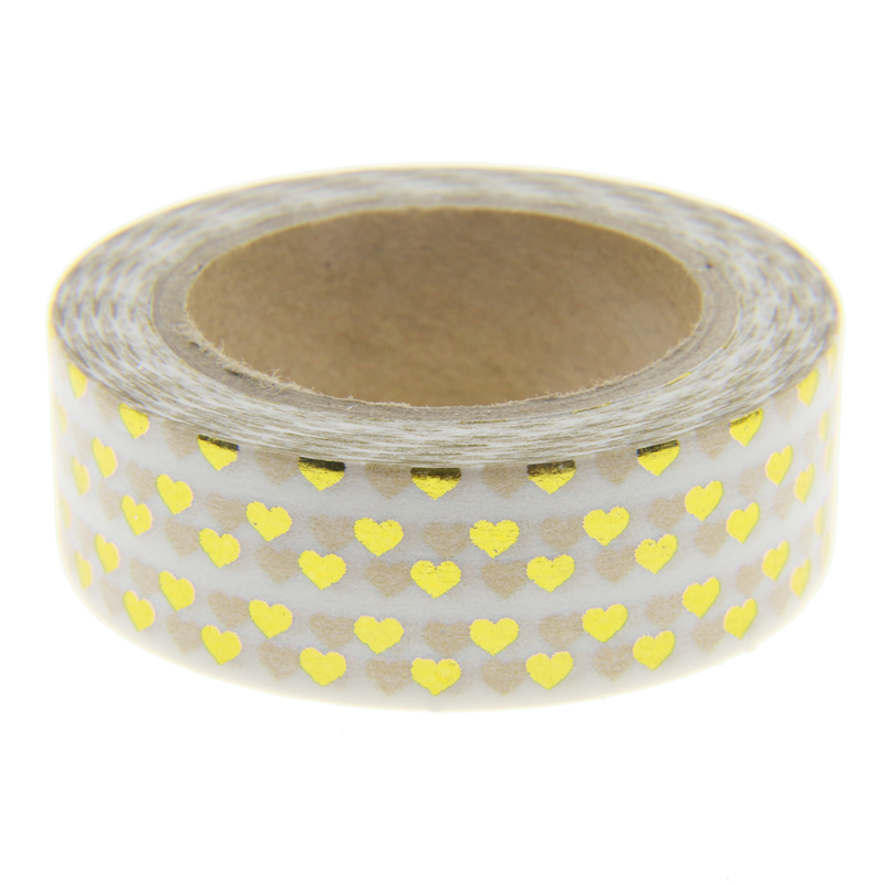 Golden heart foil washi tape scrapbooking tools cute for Tape works decorative tape