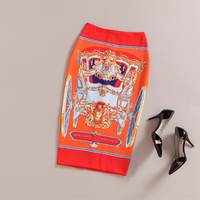 2016 Women S New Europe And America Vintage Wind Palace Print Orange Color Slim Hip Skirt