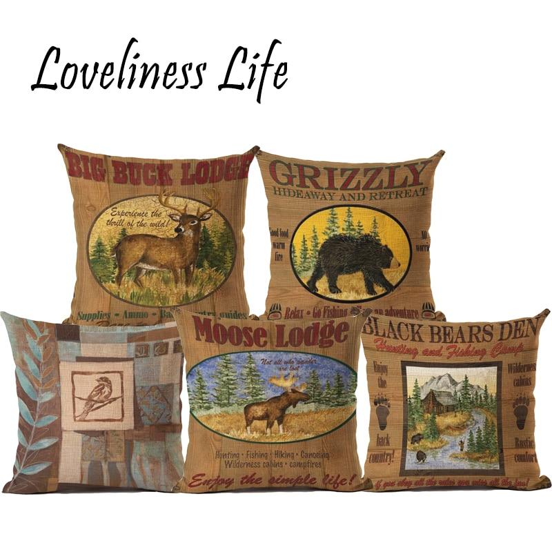 Retro Animal Design Cushion Cover Romantic Home Decor Pillowcase Kids Girls New Year Gift Throw Pillow Almofadas Cojin Coussin