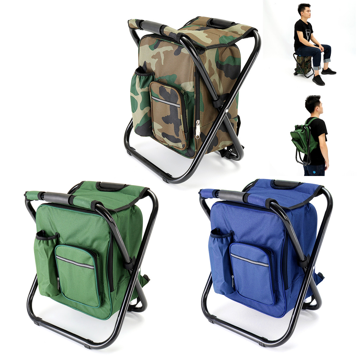 1.8L Portable Outdoor Fishing Chair Backpack Multifunctional Foldable Cooler Bag Chair Fishing Stool Chair For Fishing Camping fishing chair backpack camouflage oxford cloth large capacity fishing bag portable foldable stool fishing tackle tool chair bag
