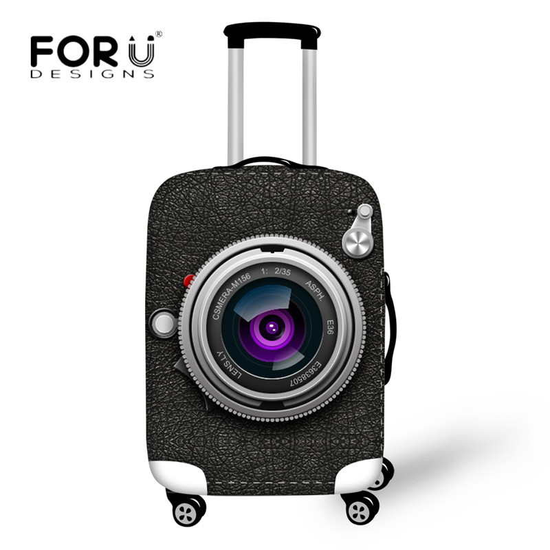 FORUDESIGNS Stylish Camera Print Luggage Protective Cover Elastic Trolley Case for 18-30Inch Suitcase Waterproof Dust Rain Cover ...