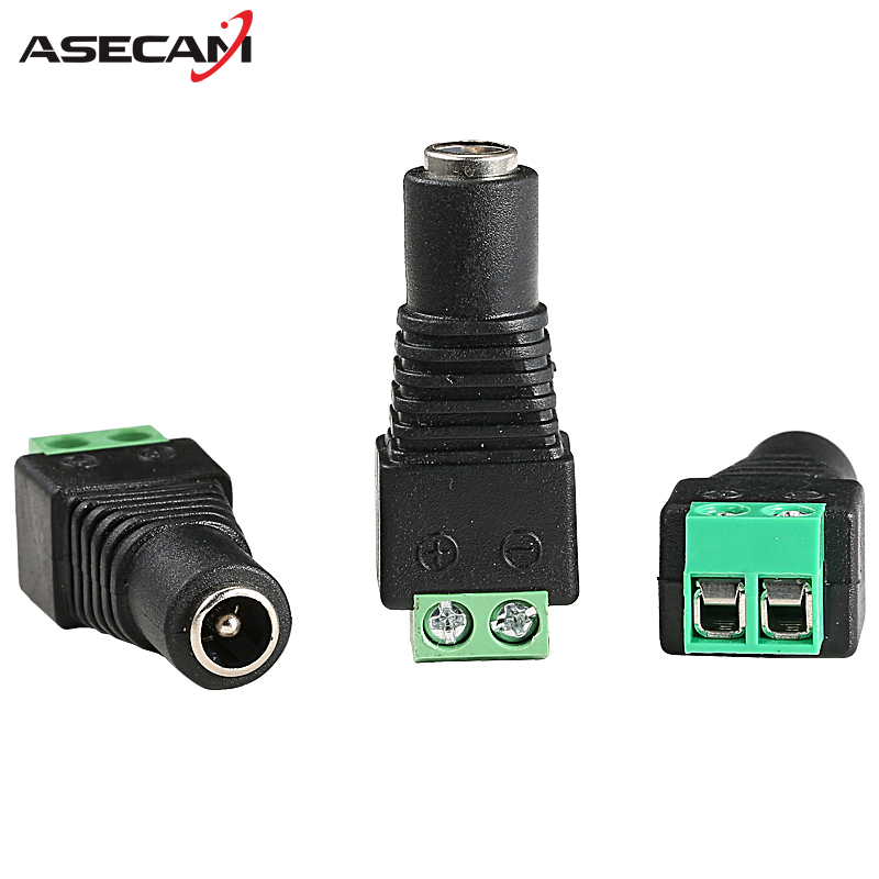 Female DC Plug Power Cable Jack Connector Plug Adapter 55*21mm For LED Strip Light for CCTV Camera System