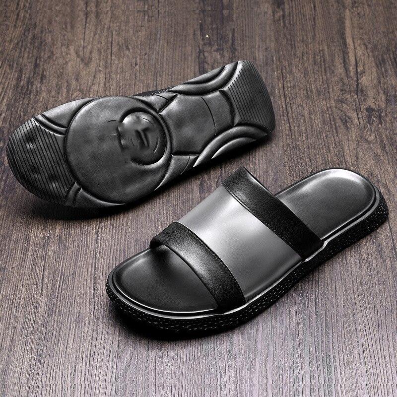 Playa Abierto Los Zapatillas Antideslizante Para Zapatos V Cuero Al Casuales De Genuino Flip Aire Del Hombres Hombre Verano Dedo Pie Libre Flops trzwrxHR