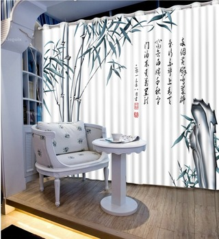 Classic Home Decor 3D Curtain Window Curtain Living Room Chinese Painting Bamboo Blackout Shade Window Curtains