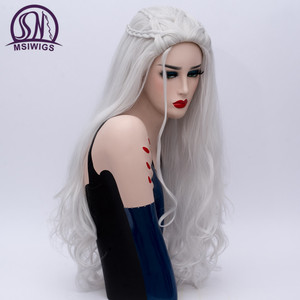 Image 3 - MSIWIGS 2 Colors Long Silver White Curly Wigs Cosplay Synthetic Blonde Braided Wig for Women Natural Braid Hair Heat Resistant
