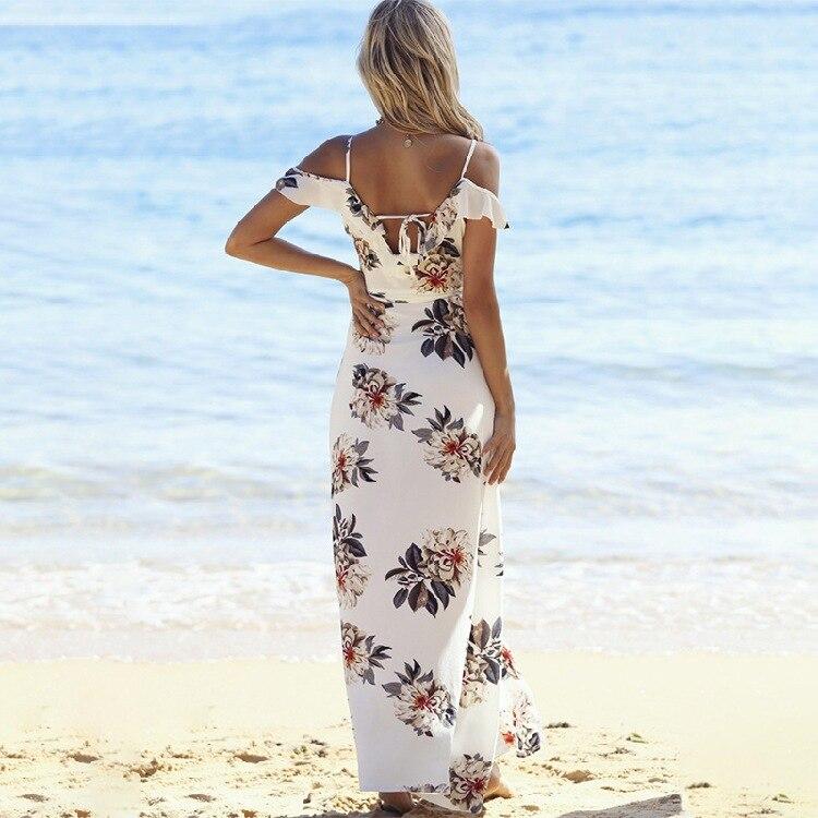 Épaule dénudée plage imprimé robe bord de mer vacances irrégulière Split mousseline de soie robe Sexy haute fente Maxi robe femmes robe élégante - 5