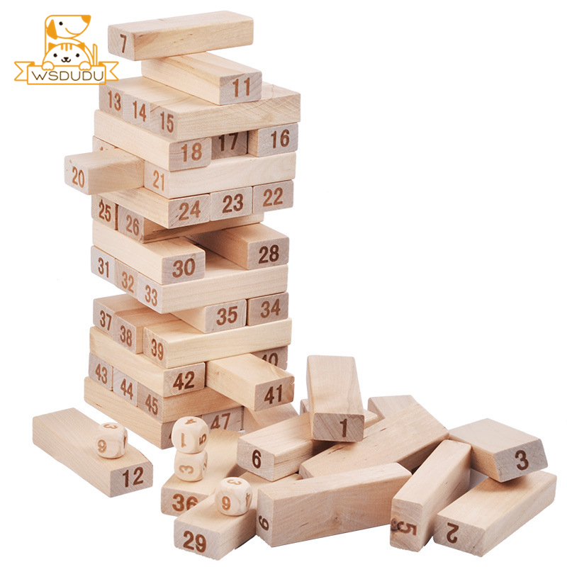 48pcs Piles High Building Blocks Jenga Pumping Wooden Stacking Layers Wood Domino Desktop Board Game For Adult Kids Party Gifts
