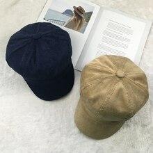 COKK Newsboy Cap Women Winter Hat Female Octagonal Painter Berets Caps For Corduroy Vintage Beret Simple Retro