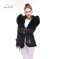 Factory direct supplier new women's coat fashion Real fox fur hooded warm winter large size high quality brand Leather Jacket