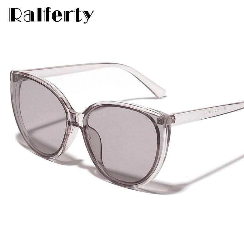 Ralferty Cateye Sunglasses Women Vintage Clear Lens Glasses Retro Cat Eye Sun Glasses Female Eyewear UV400 Shades Oculos W19024