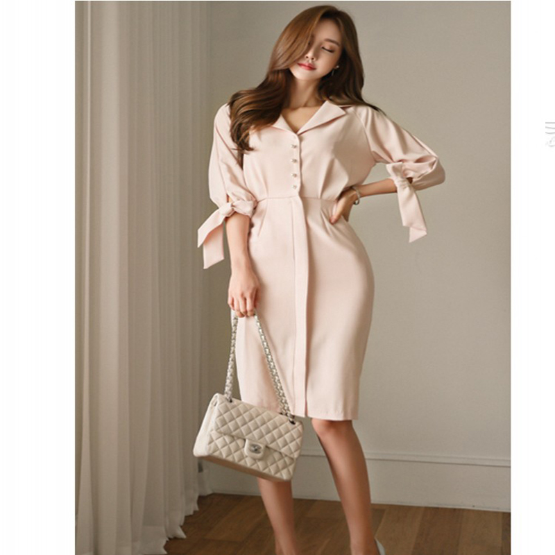 Dames nouvelle mode élégante robe femmes cinquième manches costume slim taille noble placting une pièce robe