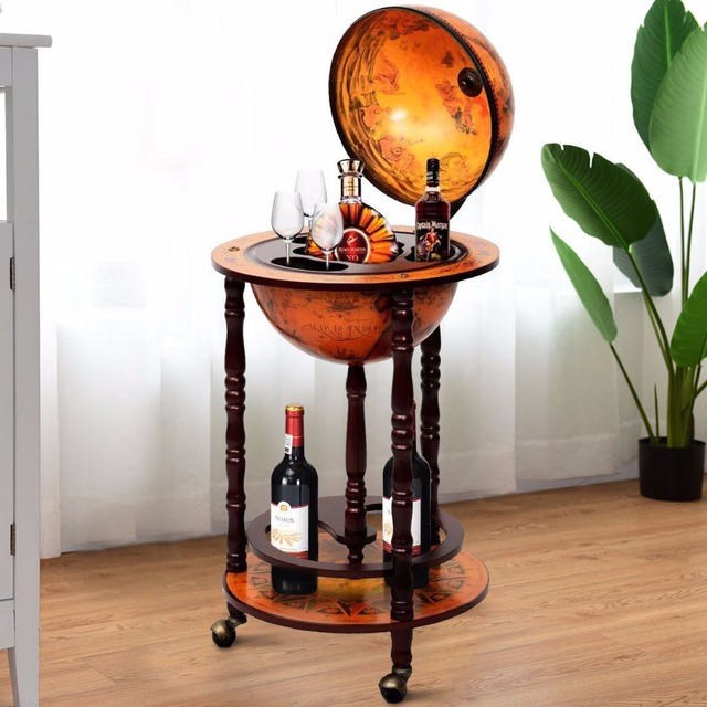Goplus 36 Wood Globe Rolling Wine Rack Bar Stand Retro 16th Century Italian Liquor Bottle