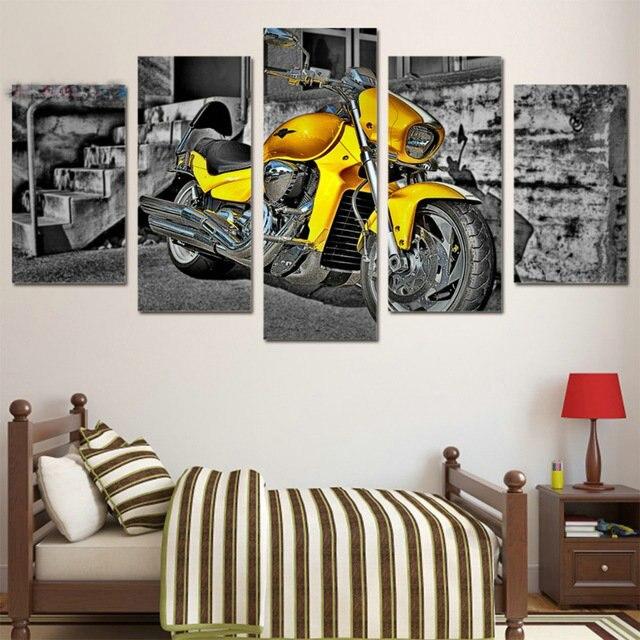 Bricolage complet diamants broderie photos mosaïque jaune moto modèle carré 5d diamant peinture strass point de croix Kits