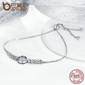 Image 4 - BAMOER 925 Sterling Silver Lucky Round Blue Eyes Power Tennis Bracelet Pave CZ Adjustable Link Chain Bracelets Jewelry SCB006