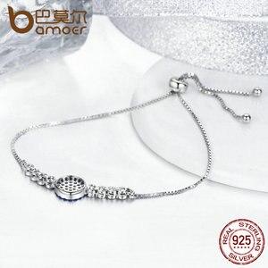 Image 4 - BAMOER 925 argent Sterling chanceux rond yeux bleus puissance Tennis Bracelet pavé CZ réglable lien chaîne Bracelets bijoux SCB006