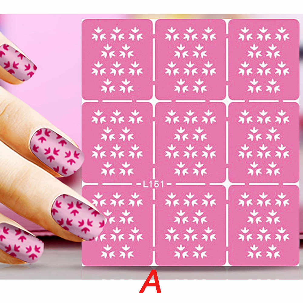 Модный дизайн ногтей трафаретные наклейки для маникюра Советы Наклейка 1 шт. наклейка для ногтей полый принт форма декоративная наклейка для ногтей розовый